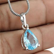 Graceful Rhodium Plated 925 Sterling Silver Blue Topaz Gemstone Pendant Jewelry Wholesaler