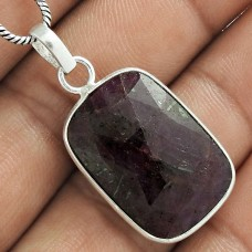 Scenic 925 Sterling Silver Ruby Gemstone Pendant Jewelry