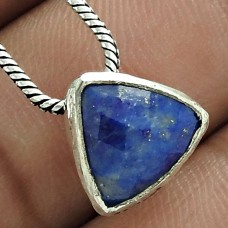 Trendy 925 Sterling Silver Lapis Gemstone Pendant Jewelry