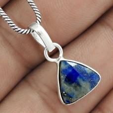 Designer 925 Sterling Silver Lapis Gemstone Pendant Jewelry