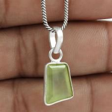 Lovely 925 Sterling Silver Prehnite Gemstone Pendant Jewelry