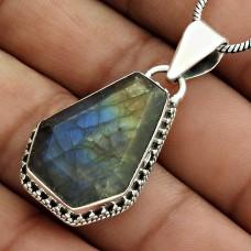 Labradorite Gemstone Pendant 925 Sterling Silver Vintage Look Jewelry PL26