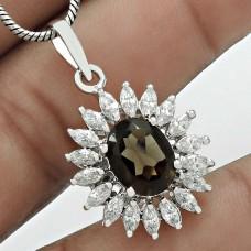 Rare Rhodium Plated 925 Sterling Silver Smoky Quartz, White C.Z Gemstone Pendant Ethnic Jewelry D31