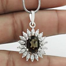 Trendy Rhodium Plated 925 Sterling Silver Smoky Quartz, White C.Z Gemstone Pendant Handmade Jewelry D32