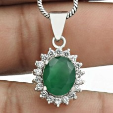 Latest Trend Rhodium Plated 925 Sterling Silver Green Onyx, White C.Z Gemstone Pendant Vintage Jewelry D33