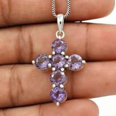 Amethyst Gemstone Cross Pendant 925 Sterling Silver Women Gift Jewelry YH26
