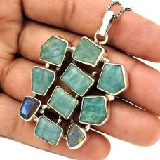 Aquamarine Labradorite Gemstone Pendant 925 Sterling Silver Ethnic Jewelry RQ13