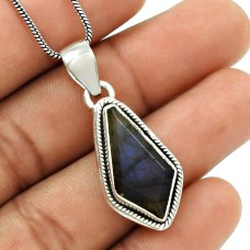 Natural LABRADORITE HANDMADE Jewelry 925 Sterling Silver Ethnic Pendant GG10