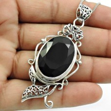 Black Onyx Gemstone Pendant Solid 925 Sterling Silver Handmade Jewelry C15