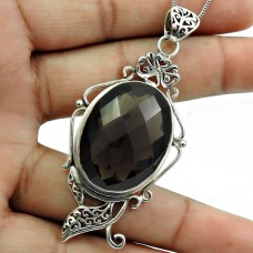 Smoky Quartz Gemstone Pendant Solid 925 Sterling Silver Indian Jewelry D15