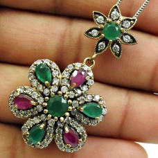 Emerald Ruby CZ Gemstone Pendant Solid 925 Sterling Silver Turkish Jewelry G15