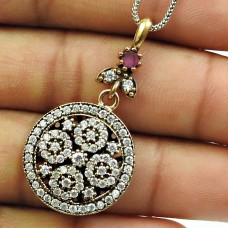 Ruby CZ Gemstone Turkish Pendant Solid 925 Sterling Silver Traditional Jewelry H15