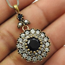 Turkish Pendant Sapphire Iolite CZ Gemstone 925 Sterling Silver Ethnic Jewelry I15
