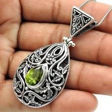 Peridot Gemstone Pendant 925 Sterling Silver Stylish Jewelry K15