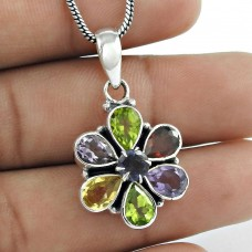 925 Sterling Silver Jewelry Fashion Iolite, Garnet, Amethyst, Citrine, Peridot Gemstone Pendant Grossiste