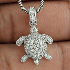 Beautiful !! 925 Sterling Silver White CZ Tortoise Pendant