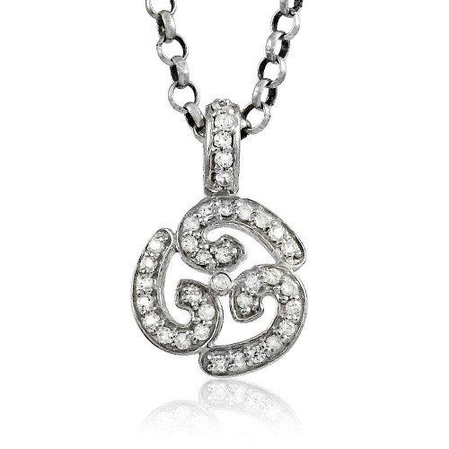 Natural Beauty!! 925 Sterling Silver White CZ OM Pendant