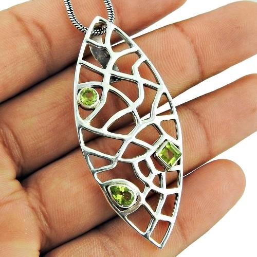 Stunning 925 Sterling Silver Peridot Gemstone Pendant Jewellery