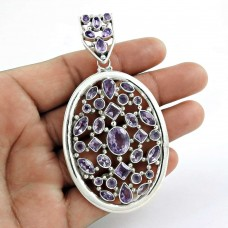 Natural Beauty! 925 Sterling Silver Amethyst Pendant