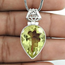 Love At First Sight Light! 925 Sterling Silver Lemon Quartz Pendant