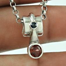 Designer 925 Sterling Silver Garnet Iolite Gemstone Pendant Traditional Jewellery