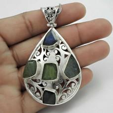 Natural! 925 Sterling Silver Labradorite Pendant