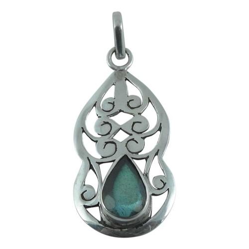 Simple! 925 Sterling Silver Labradorite Pendant