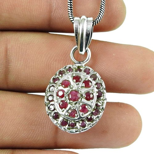 Stunning Ruby Gemstone 925 Sterling Silver Fashion Pendant Jewellery