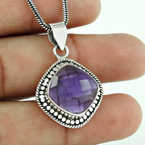 Scrumptious 925 Sterling Silver Amethyst Gemstone Pendant Jewellery