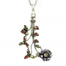 925 Sterling Silver Gemstone Jewelry Charming Peridot, Garnet, Citrine, Amethyst Gemstone Pendant Manufacturer India