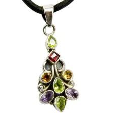 Sterling Silver Jewelry Ethnic Peridot, Garnet, Citrine, Amethyst Gemstone Pendant Wholesale