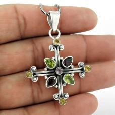 925 Silver Jewelry Ethnic Citrine, Amethyst, Garnet, Peridot Gemstone Pendant Mayorista