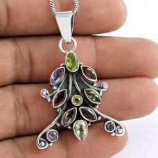 925 Sterling Silver Jewelry Rare Peridot, Amethyst, Garnet, Citrine Gemstone Pendant Proveedor