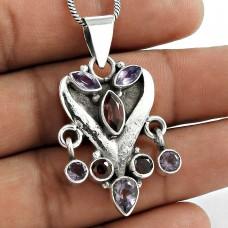 925 Sterling Silver Vintage Jewelry Fashion Amethyst, Garnet Gemstone Pendant Manufacturer