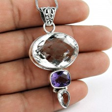 925 Sterling Silver Indian Jewelry Beautiful Crystal, Amethyst Gemstone Pendant Wholesale Price