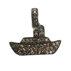 Boat Design 925 Sterling Silver Single Cut Diamond Pendant