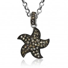 Star Design 925 Sterling Silver Single Cut Diamond Pendant