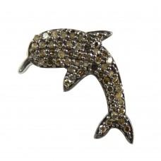Fish Design 925 Sterling Silver Single Cut Diamond Pendant