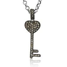 Key Design 925 Sterling Silver Single Cut Diamond Pendant Großhändler