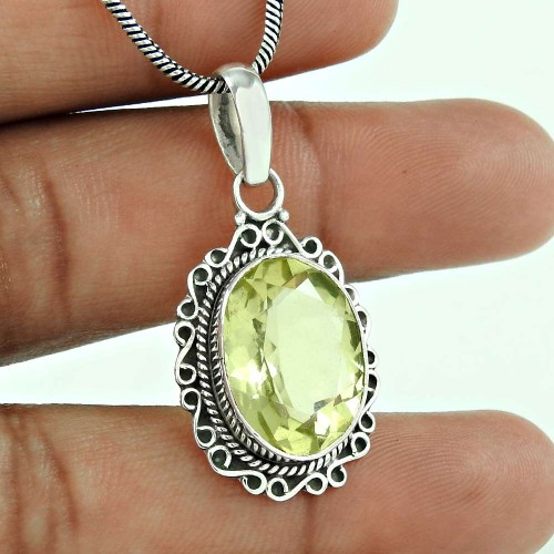 925 Sterling Silver Gemstone Jewellery Trendy Lemon Topaz Gemstone Pendant Wholesaler