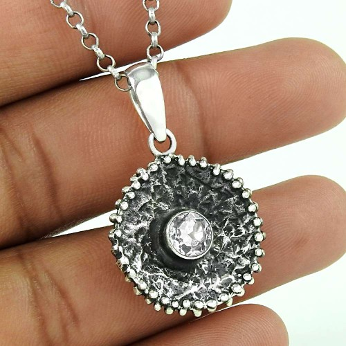 Lustrous 925 Sterling Silver Crystal Gemstone Pendant Ethnic Jewellery