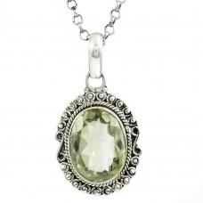 Sterling Silver Jewelry Fashion Green Amethyst Gemstone Pendant Wholesaling