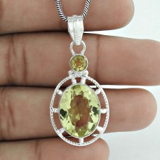 925 Sterling Silver Jewelry High Polish Lemon Topaz, Citrine Gemstone Pendant Supplier India