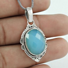 925 Sterling Silver Vintage Jewelry Ethnic Chalcedony Gemstone Pendant Wholesale