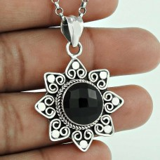 925 Sterling Silver Antique Jewellery Beautiful Black Onyx Gemstone Pendant Al por mayor