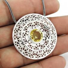 Paradise Lantern !! 925 Sterling Silver Citrine Pendant