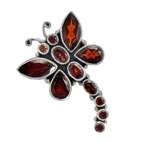Butterfly Style 925 Sterling Silver Garnet Pendant Bohemian Jewelry Supplier India