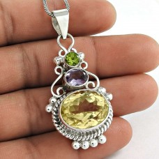 Draditions!! 925 Sterling Silver Citrine, Amethyst, Peridot Bohemian Pendant