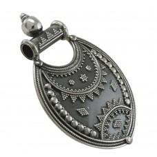 Blackl! Bohemian Tibetan Oxidised 925 Sterling Silver Handmade Pendant