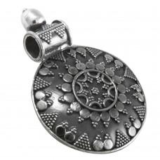 Huge Modern Style Bohemian Oxidised Sterling Silver Pendant Jewellery